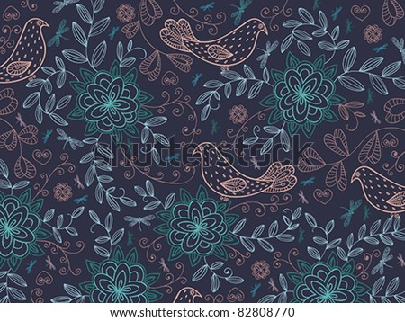 Floral vector summer background with cartoon birds.