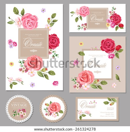 Floral vector  vintage invitation. Set. - stock vector