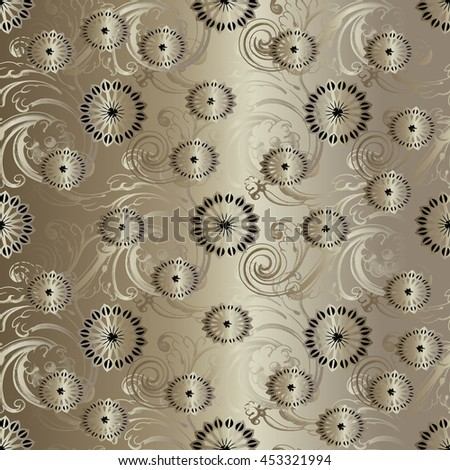 Floral vector vintage seamless pattern background wallpaper with gold ornamental decorative flowers and line art  ornaments, Gentle elegant texture, Ornate decor with shadow and highlights. - stock vector