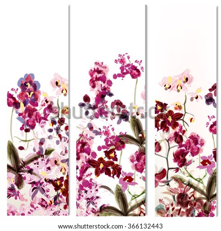 Floral vertical brochures set with orchid flowers painted in watercolor style by spots