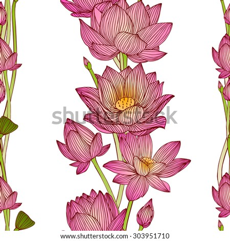Floral vertical stripes. Vector seamless pattern - lotus flowers