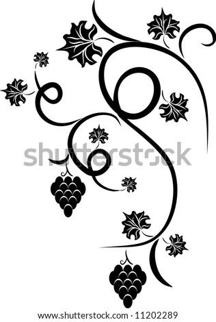 Floral vine grape - design tattoo - stock vector