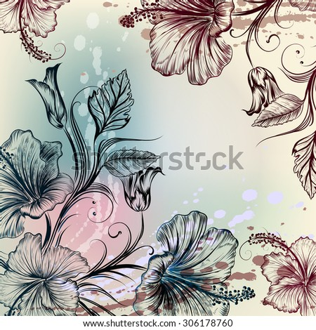 Floral vintage background with hibiscus flowers engraved style - stock vector