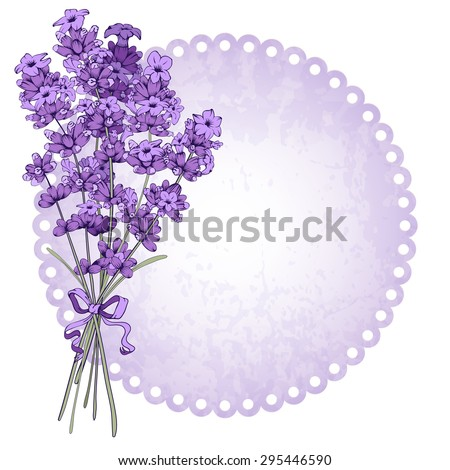 Floral vintage background with lavender bouquet. Vector illustration isolated on white. - stock vector
