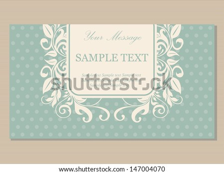 Floral vintage business card, invitation or announcement.