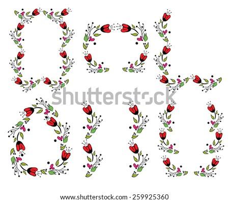 Floral Vintage Frame set - stock vector