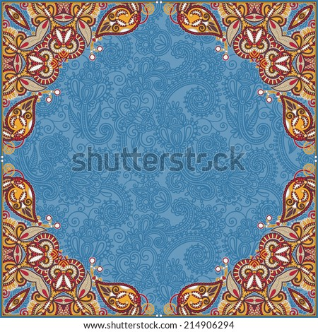 floral vintage frame, ukrainian ethnic style, vector illustration