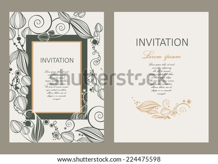 Floral  vintage invitation - stock vector