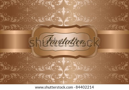 Floral vintage invitation. Design vector - stock vector