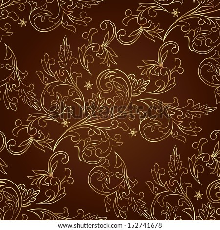 Floral vintage seamless pattern on brown background. Vector illustration. - stock vector