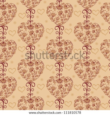 Floral vintage seamless pattern with hearts.