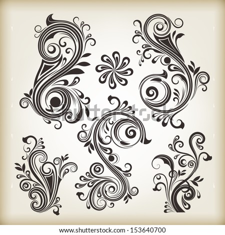 Floral vintage swirly design elements isolated on beige background. Set 26. - stock vector