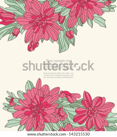Floral vintage template for Happy birthday, wedding, invitation, greeting  card. Vector illustration.