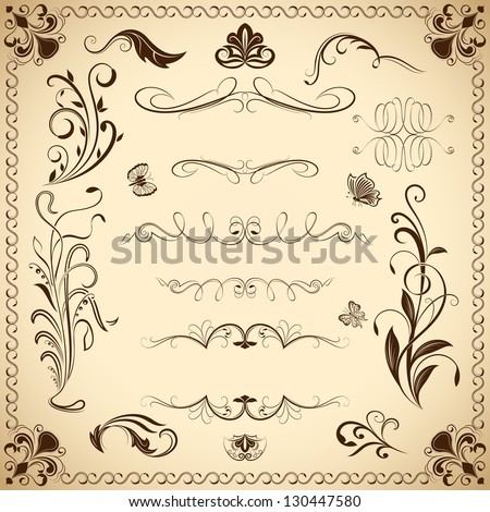 Floral vintage vector design elements isolated on aged color background. Set 21.