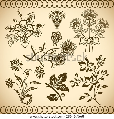 Floral vintage vector design elements isolated on beige background. Set 30. - stock vector