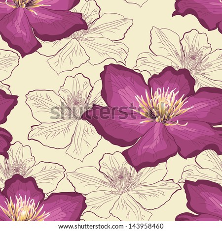 Floral wallpaper, hand-drawn, seamless - stock vector