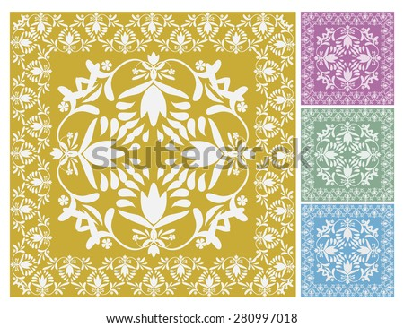 Floral wallpaper pattern vector illustration Floral background Ornamental elegant flower designs in pastel colors Swirly plants vignette Seamless pattern 4 decorate wall, tiles, carpets, fabric print  - stock vector