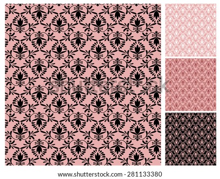 Floral wallpaper pattern vector illustration Floral background Ornamental elegant flower designs in dusty rose pink Swirly plants vignette Seamless pattern 4 decorate wall, paper, tiles, fabric prints - stock vector