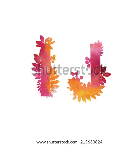 Floral Watercolor Alphabet. Letters I end J.  - stock vector