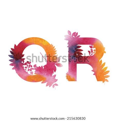 Floral Watercolor Alphabet. Letters Q end R.  - stock vector