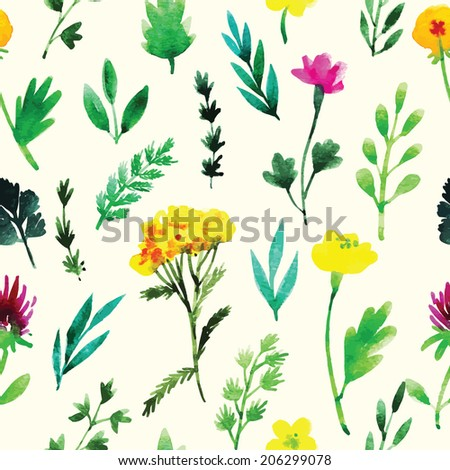 Floral watercolor vector pattern design
