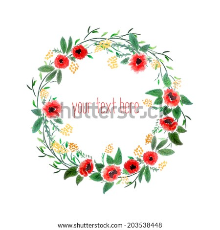Floral Watercolor Wreath. Branch Frame. Hand Drawn Illustration. Vector. - stock vector