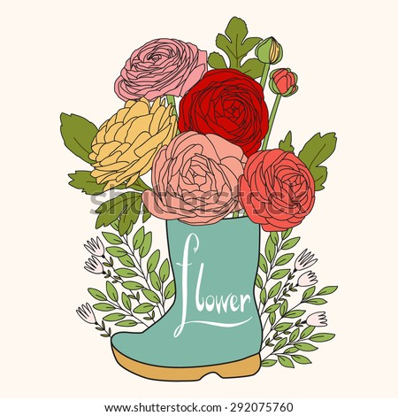 Floral wedding background. Flowers in boot. Spring concept wallpaper with ranunculus - stock vector