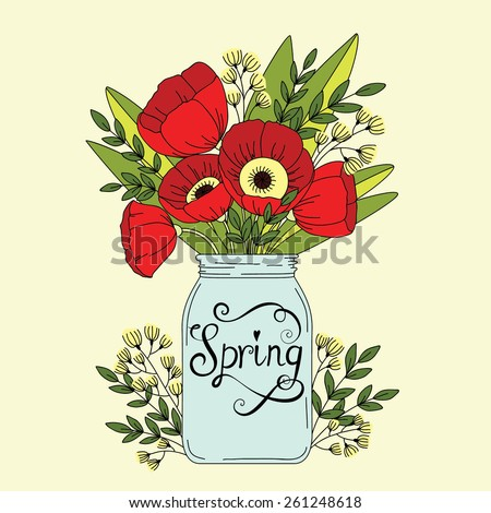 Floral wedding background. Flowers in jar. Spring concept wallpaper with poppy - stock vector