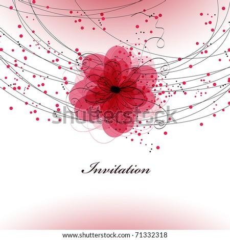 Floral  wedding card - stock vector