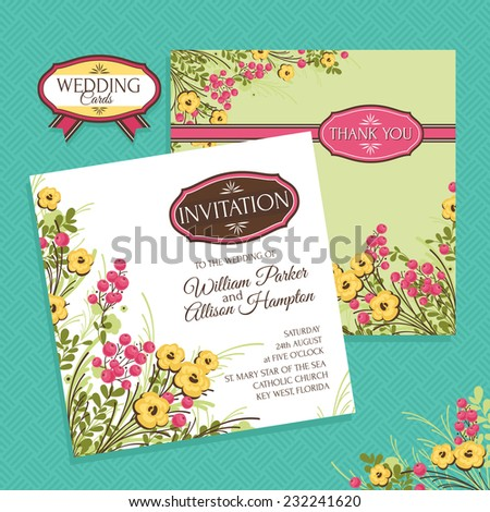 Floral wedding card vector illustration - stock vector