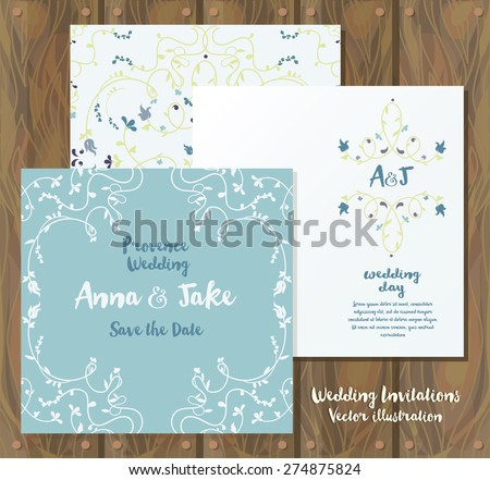 floral wedding cards: invitations and wrapping paper on wooden background, country style design, vector illustration - stock vector