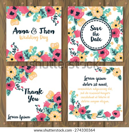 floral wedding cards on wooden background, country style design, vector illustration - stock vector