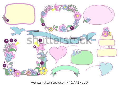 Floral wedding clipart, hand-drawn flower frames, romantic hearts and ribbon with doves, hand-drawn vector clipart for love letter and wedding invitation, hand-drawn wedding frames, love clip art - stock vector