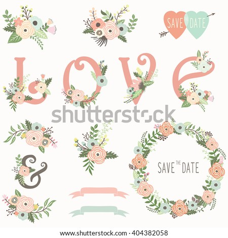 Floral Wedding invitation design elements - stock vector