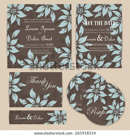 Floral Wedding Invitation Set - stock vector