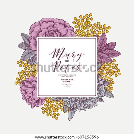 Floral wedding invitation template vintage flower stock vector floral wedding invitation template vintage flower greeting card vector illustration stopboris Choice Image
