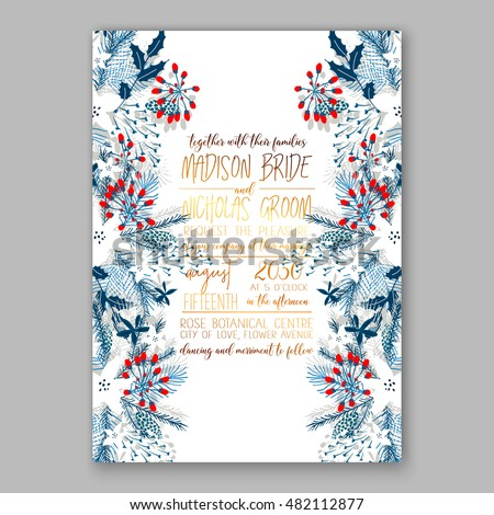 Floral wedding invitation with winter christmas wreath. Merry Christmas and Happy New Year Card