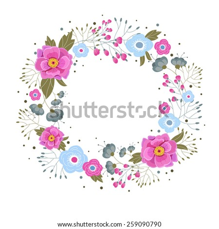 Floral wreath for greeting design - stock vector