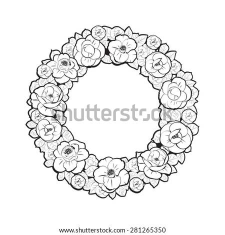 Floral Wreath in Black-and-White Style - stock vector