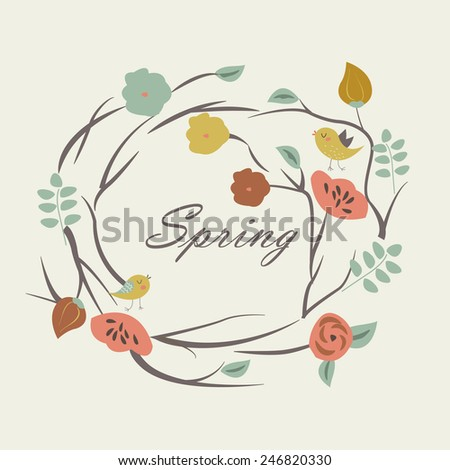 Floral wreath with birds in cartoon style. Spring background. Spring card - stock vector