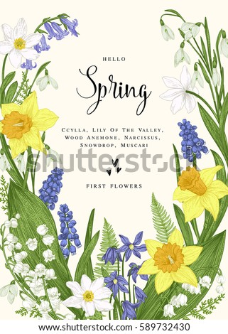 Floral wreath spring flowers vector vintage stock vector 2018 floral wreath with spring flowers vector vintage botanical illustration narcissus lily of the mightylinksfo Gallery