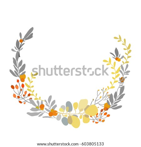 Floral wreath spring summer yellow gray stock vector royalty free floral wreath with spring summer yellow gray flowers branches and leaves decorative floral round frame mightylinksfo