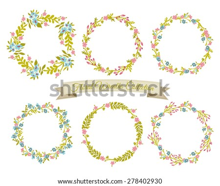 Floral Wreaths Collection - stock vector