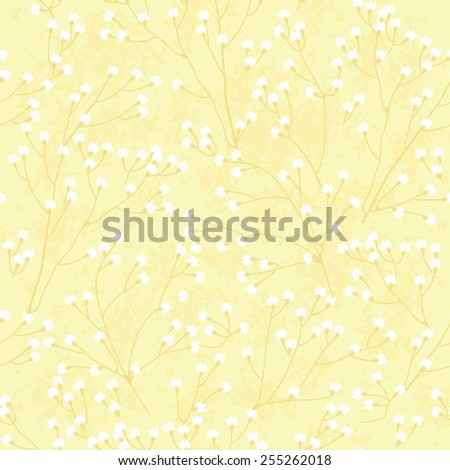 Floral yellow background. Vector seamless pattern - stock vector