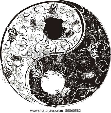 Floral Yin Yang Symbol vector illustration. - stock vector