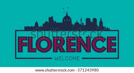 Florence Italy city skyline silhouette vector design