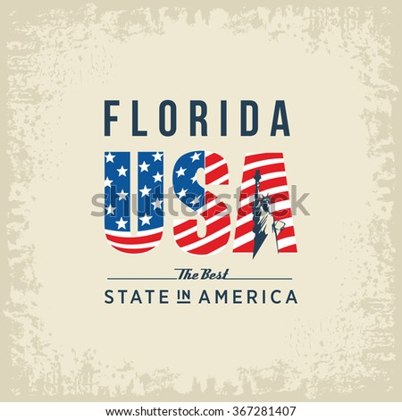 Florida best state in America, white, vintage vector illustration