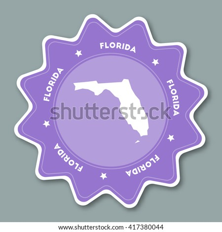 Florida Map Sticker In Trendy Colors Travel Sticker With Us State Name And Map