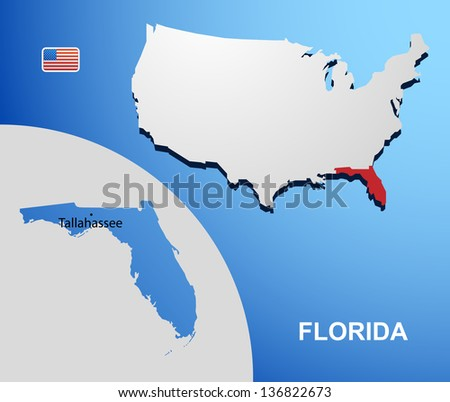 Florida on USA map with map of the state