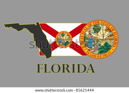 Florida state map, flag, seal and name. - stock vector